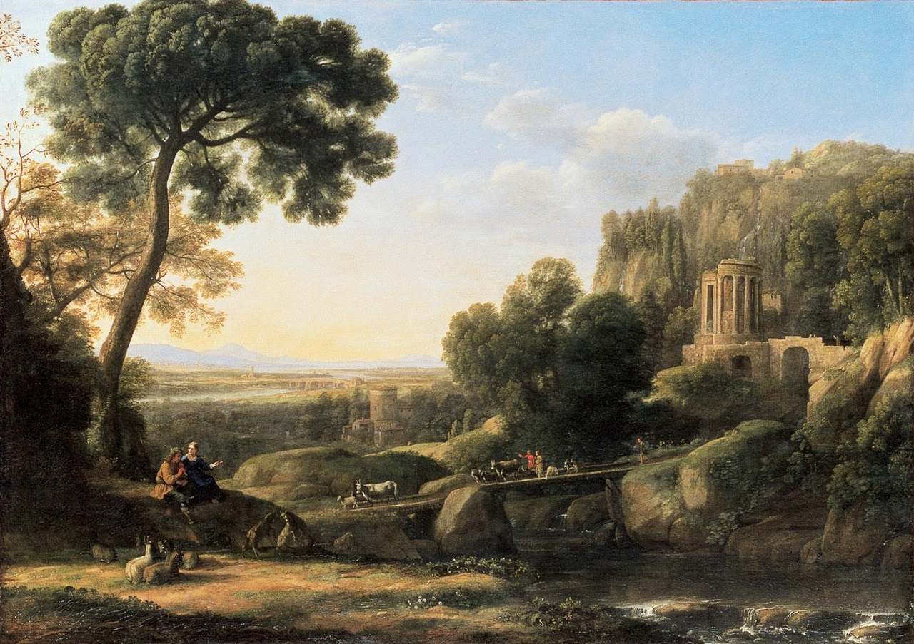 """Pastoral Landscape Claude Gellée, known as Claude Lorrain (1600 or 1604/05 – 1682) 1644 Oil on canvas The vista of the Roman countryside with its ancient and modern buildings, including the Temple of the Sibyl and the Villa d'Este, made the town of Tivoli famous.Unlike Nicolas Poussin, Claude Lorrain was apparently not very interested in depicting landscapes in dramatic weather—storms, rain, and thunder. What Sir Joshua Reynolds called """"the accidents of nature"""" in 1787 are absent from Claude's universe. In the serene world of his paintings, fine weather reigns forever, uninterrupted—which is also the case in his drawings, apart from a few exceptions."""