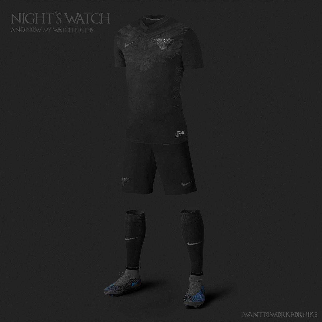 Equipaciones futboleras tipo Juego de Tronos - Guardia de la Noche