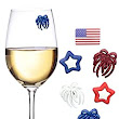 Amazon.com | Memorial Day Decorations for Your Wine Glass - 6 Magnetic Drink Markers or Charms Great for 4th of July Celebrations or BBQ by Simply Charmed: Glass Markers
