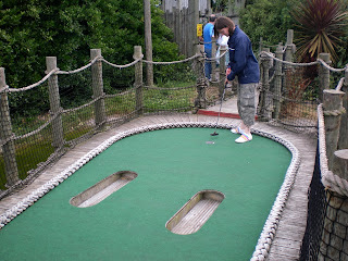 Emily Gottfried playing the Treasure Island Adventure Mini Golf course in Eastbourne