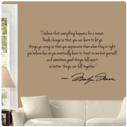 Marilyn Monroe Wall Decal Decor Quote I Believe things