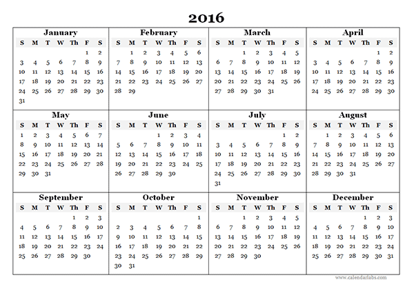 2016 Yearly Calendar Template 07 - Free Printable Templates