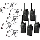Eartec SC-1000 5-User Two-Way Radio System with 5X Cyber Inline PTT Headsets - CYBSC5000IL