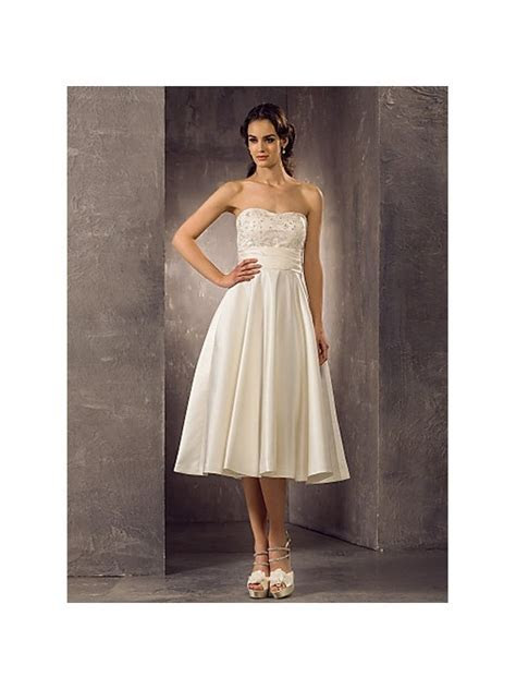 A line Empire waist Ankle length Satin Lace Sweetheart