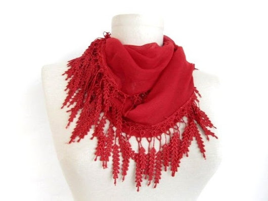 Red cotton scarf with lace fringe  by ScarfsSale on Etsy