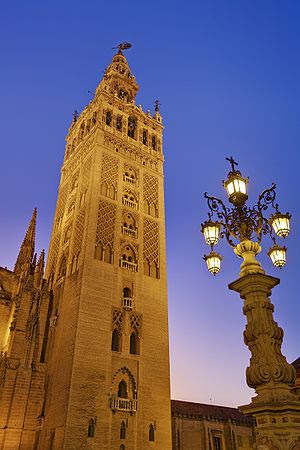 La Giralda at dusk, the tower of the Cathedral...