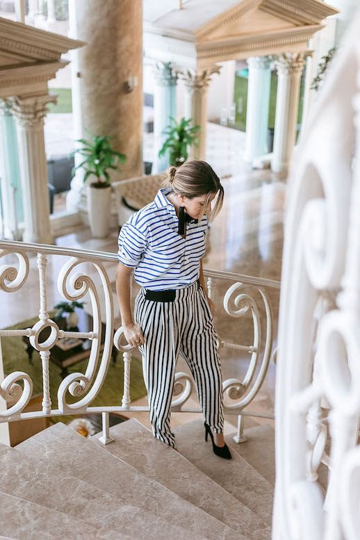 Le Fashion Blog Striped Shirt Striped Pants Black Heels Tassle Earrings Via A Constellation Journal