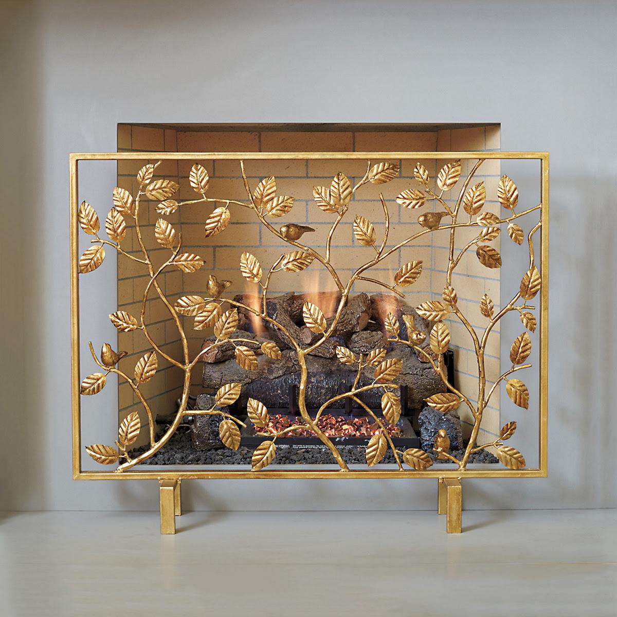 Electric Fireplace Golden Bird Decorative Fireplace Screen Gumps