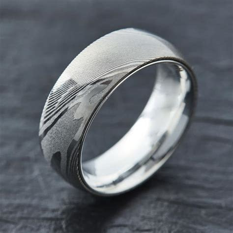 EMBR? Wood Grain Damascus Steel Ring   .925 Sterling Silver
