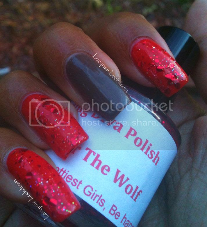 Lacquer Lockdown - darling diva polish, red after the wolf swatch, nail art, red glitter polish, indie, spoiled swatch