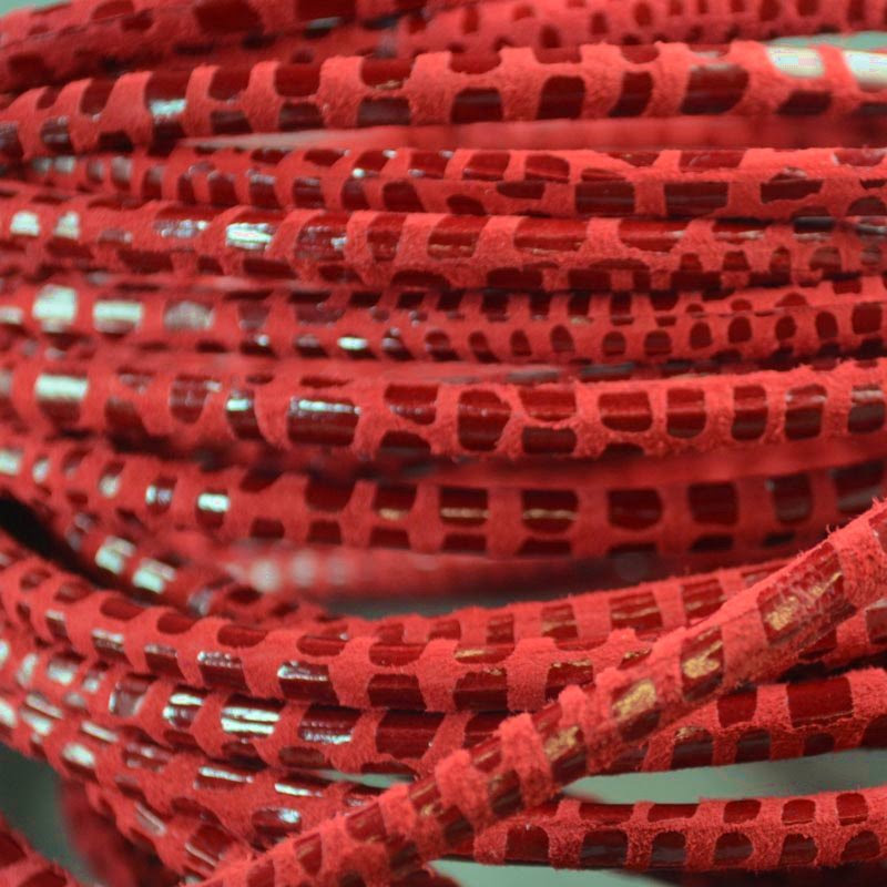 s36201 Stringing - 5 mm Hollow Core Round Leather Cord - Ruby Boa (Inch)
