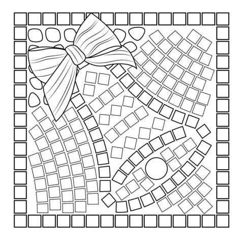 Dibujo De Mosaico De Campana De Navidad Para Colorear Dibujos Para