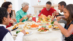 a family having a holiday meal