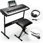 Hamzer 61 Key Portable Electronic Keyboard Piano with Stand, Stool, Headphones