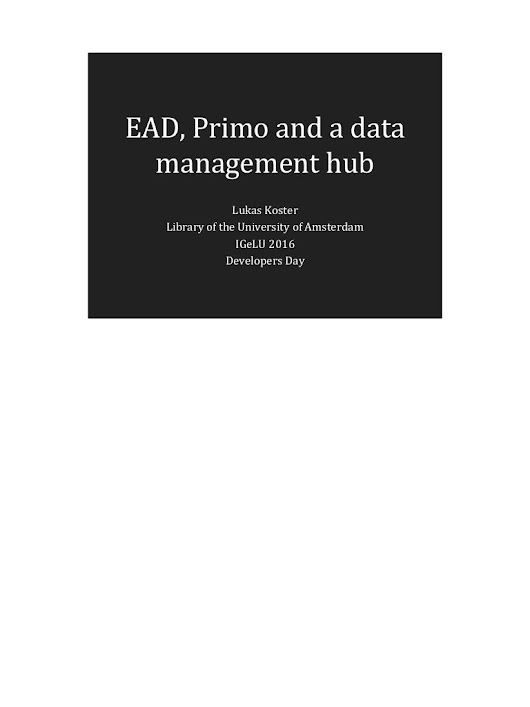 EAD, Primo and a Data management Hub - with notes