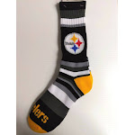 Pittsburgh Steelers Crew Socks Rainbow Stripe FBF Sportswear NFL, LG / Black
