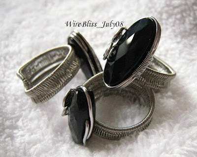 wire wrapped adjustable black onyx rings