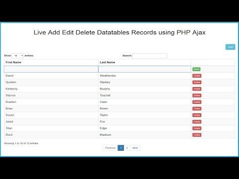 Live Add Edit Delete Datatables Records using PHP Ajax | Webslesson