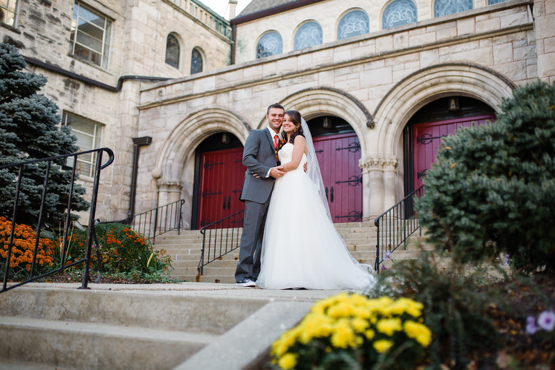 Photos with the bride, groom, and wedding party in front of Second First Congregation in downtown Rockford IL after a wedding ceremony in the church with Anna and Deven. We went around the church area for some urban photos in scenic downtown Rockford while be had some beautiful autmn weather.