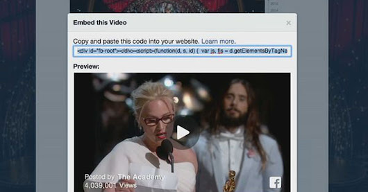 Embedding Facebook videos on websites is now possible