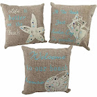 Set of 3 Beach Themed Accent Pillows 10 in. Nautical Seashell Decor