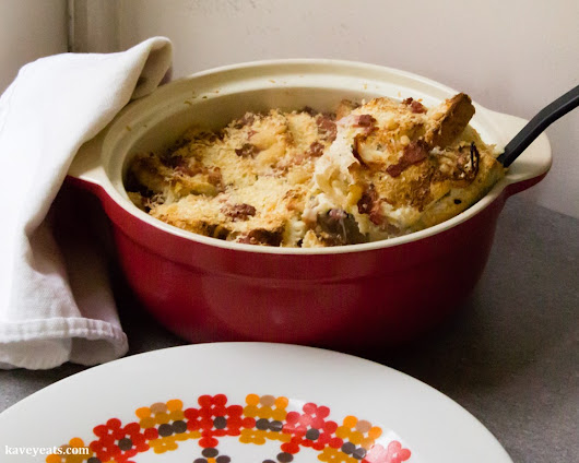 Kavey Eats » Budget Cooking | Bacon, Cheese & Onion Savoury Bread Pudding