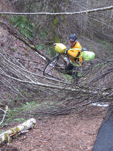 Michal portaging over the debris on the trail