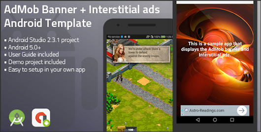 Download Source code Android Universal AdMob Banner + Interstitial Ads Template nulled | OXO-NULLED