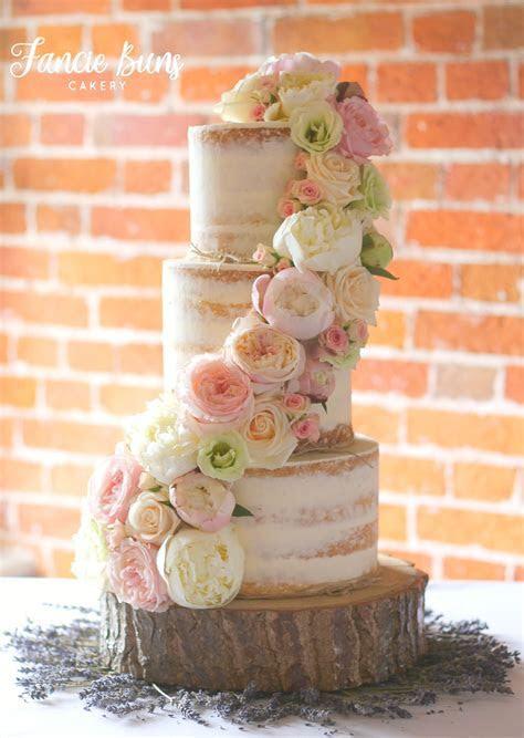 Semi Naked Wedding Cake, decorated with fresh flowers, set
