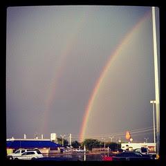 cliche double rainbow pic. so thankful for the rain!