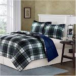 Madison Park Essentials Parkston Down Alternative Comforter Mini Set, Full/ Queen, Navy