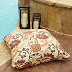 Clara Beige/ Rust Indoor/ outdoor 26-inch Square Outdoor Sunbrella Floor Pillow