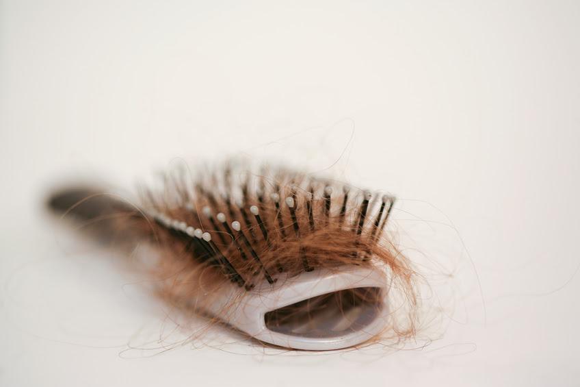 Bàn chải tóc với những sợi tóc màu nâu vàng bị mắc kẹt trong đó