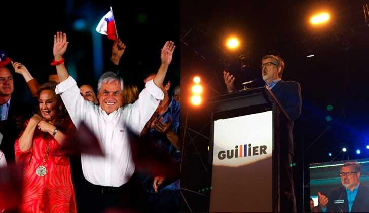 Elecciones en Chile: Piñera y  Guillier competirán por la presidencia en segunda vuelta .