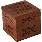 Handmade Small Lattice Cutwork Wood Box - Matr Boomie (B)