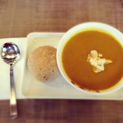 #healthy #lunch #pumpkin #soup #bread  (Taken with Instagram)