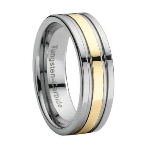 Tungsten Wedding Band with Gold Stripe Overlay
