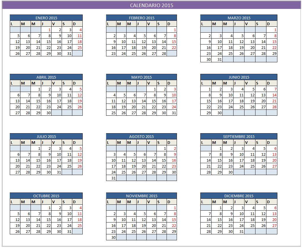 Planilla de Excel de Calendario 2015 - PlanillaExcel.com