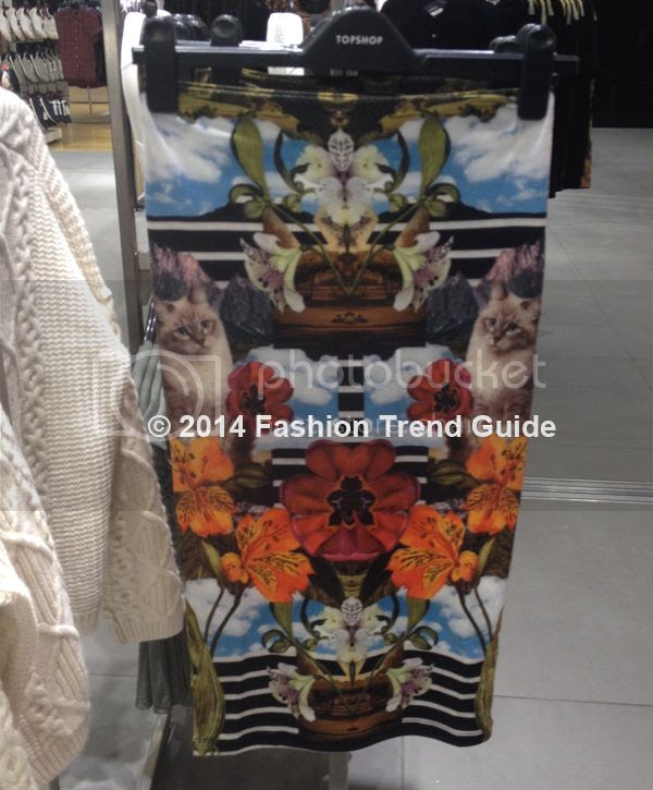 Topshop mirror cat print tube skirt