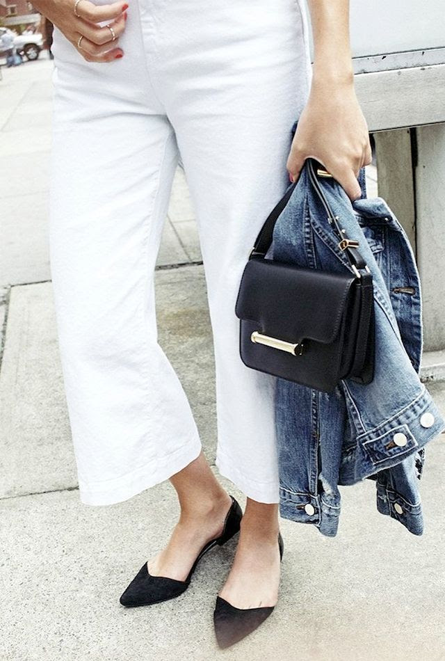 Le Fashion Blog Effortless Summer Style Jean Jacket All White Tee 7 For All Mankind Cropped Denim Culottes Black Mini Bag D'orsay Flats Via Shopbop