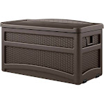 Suncast Outdoor 73 Gallon Garden Patio Storage Chest with Handles and Seat, Java by VM Express