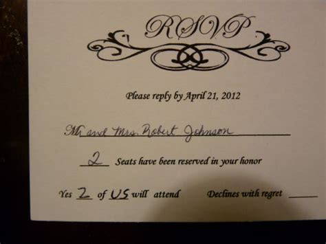 How To Fill Out Wedding Rsvp   Party Invitations Ideas
