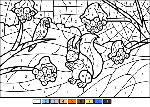 winter scene colornumber  free printable coloring pages