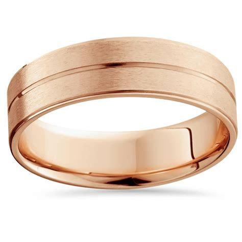 14K Rose Gold Mens Brushed Flat Wedding Band 6mm   eBay