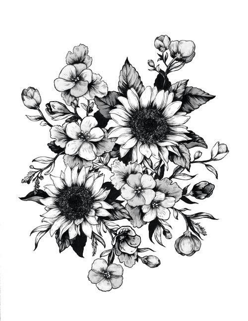 Nice Flowers Tattoos Design Stencil