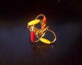 SALE Gold Swirl Ring w/wood beads