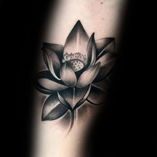 Black And Grey Lotus Flower Tattoo Design Idea