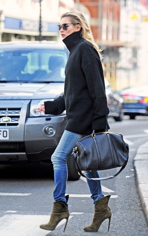 Le Fashion Blog Model Off Duty Style Kate Moss Oversized Turtleneck Sweater Louis Vuitton Duffle Bag Skinny Jeans Suede Heeled Boots Via Dailymail Uk