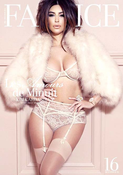 Kim Kardashian Poses in Lingerie for Factice Magazine