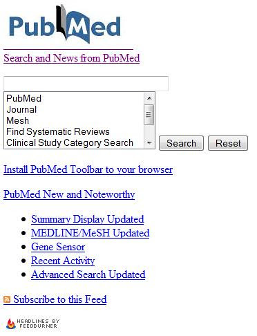 pubmed Search & News widget